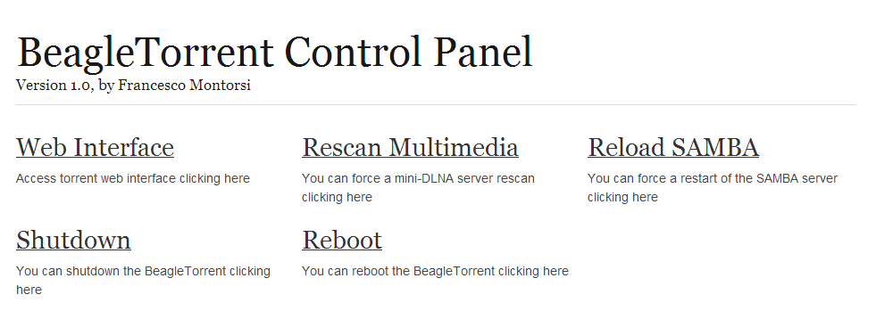 BeagleTorrent web interface